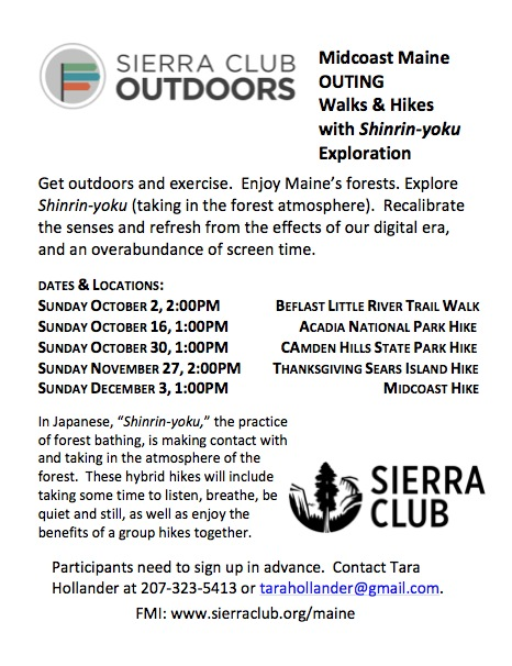 Graphic Text Flyer for Sierra Club Maine