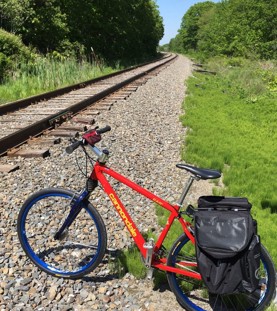 Mountain bike on train tracks