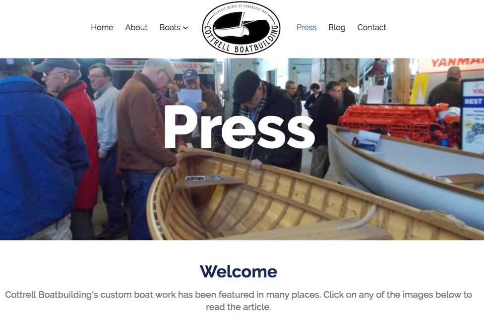 Boat show picture on Press page of website