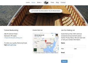 Wooden boat planks and contact information footer