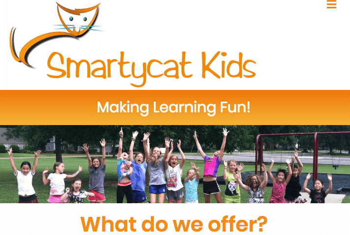 smartycat kids logo header image and taglines making learning fun
